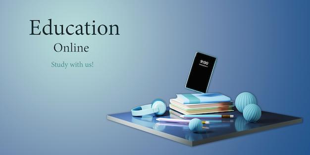 Digitaal online onderwijs. 3d-weergave van mobiele telefoon en boeken op blauwe muur.