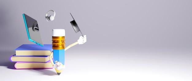 Digitaal online onderwijs. 3d-weergave van mobiele telefoon op boeken en een potlood op witte muur.