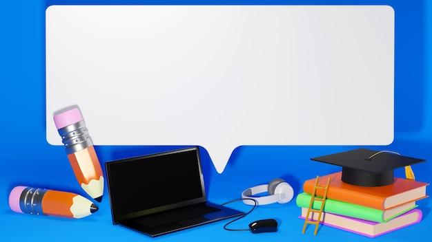 Digitaal online onderwijs. 3d-weergave van notebook en boeken over blauwe muur. er is ruimte voor tekst.