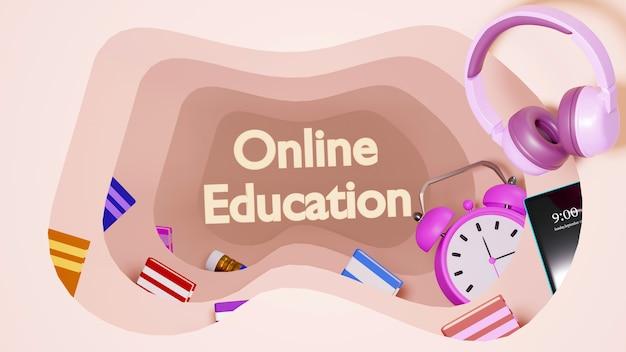 Digitaal online onderwijs. 3d-weergave van wekker en mobiel op oranje muur. er is online onderwijstekst en boeken.