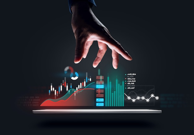 Digitaal ontwerp van zakenmanhand die grafiek probeert te grijpen