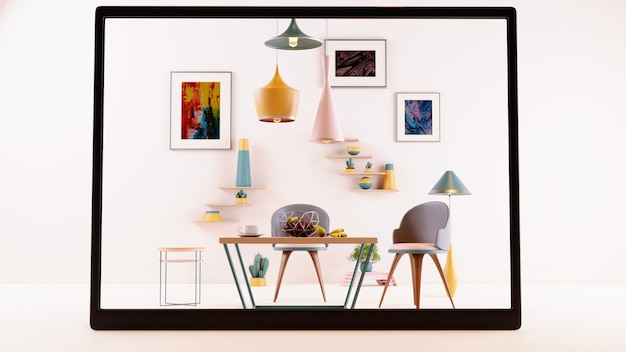 Digitaal scherm met ar-applicatie om meubels met landschap te simuleren, verlichte lampen, fruit en plantenpotten op de achtergrond te hangen.
