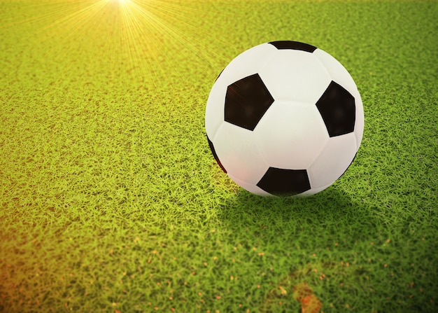 Digitaal teruggegeven voetbal of voetbalbal die op het groene gras liggen, 3d illustratie.