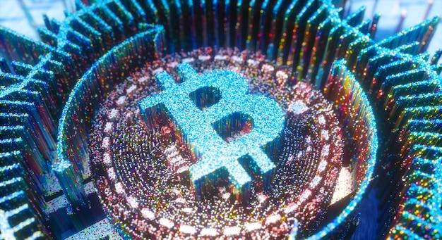 Digital art bitcoin logo symbool van cryptocurrency