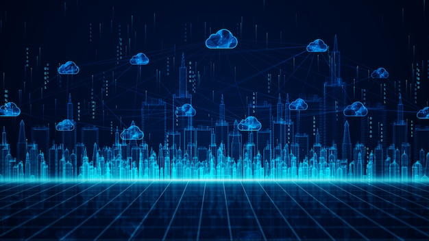 Digital city en cloud computing met behulp van kunstmatige intelligentie, 5g high-speed verbindingsgegevensanalyse. digitale datanetwerkverbindingen en wereldwijde communicatieachtergrond.