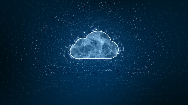 Digital cloud computing, cyber security, digital data network protection, future technology digital data network connection background concept.