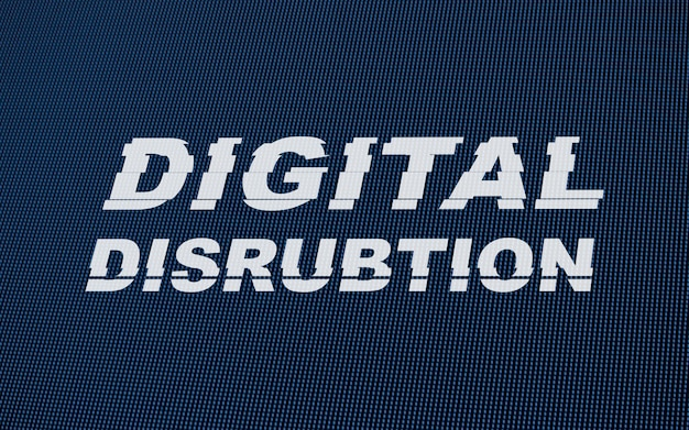 Digital disrubtion-tekst op led-schermglitch.