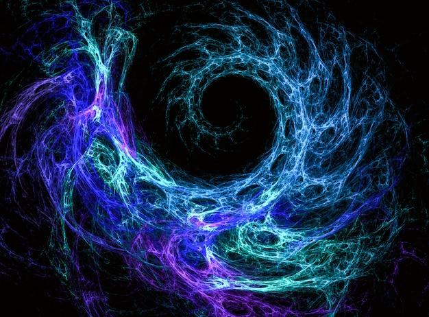 Digitale abstracte spiraalvormige fractal achtergrond op de zwarte