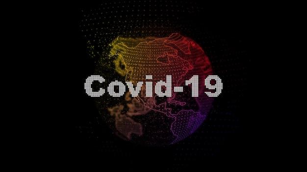 Digitale afbeeldingen met globe bol met covid-19