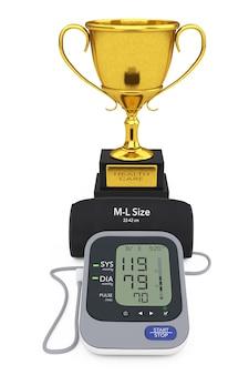 Digitale bloeddrukmeter met manchet en gouden trofee op een witte achtergrond. 3d-rendering.