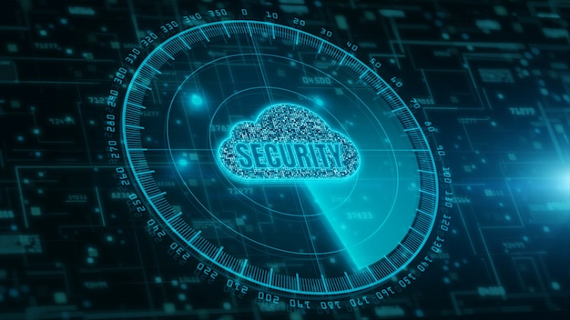 Digitale cloud computing en radarscanning van cyberveiligheid. bescherming van digitale datanetwerken