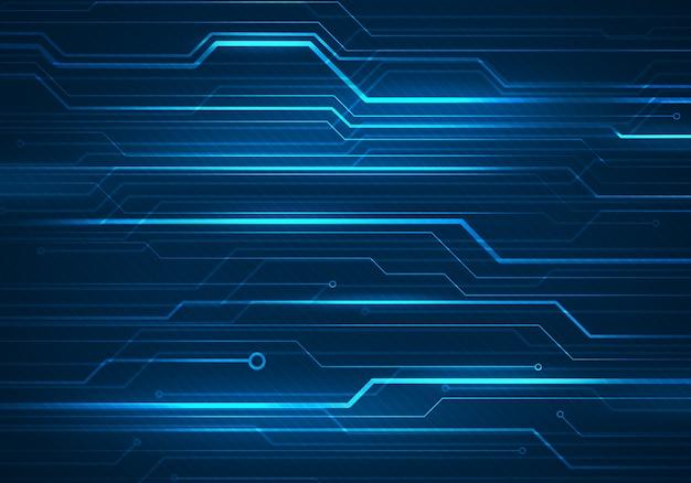 Digitale conceptenillustratie met kringsmicrochip op blauwe achtergrond.