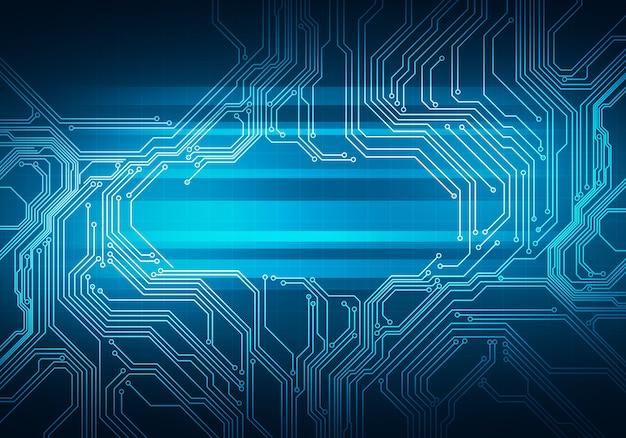 Digitale conceptuele beeldcircuit microchip op blauwe achtergrond