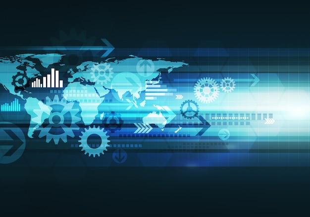 Digitale conceptuele gradiëntafbeelding zakelijke technologie achtergrond met pijl en wereldkaart voor corporate merk
