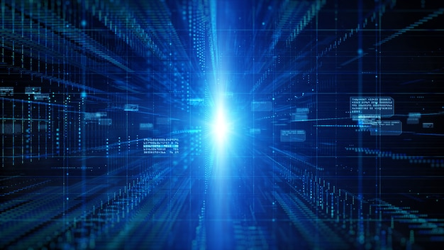 Digitale cyberspace met deeltjes en digitaal datanetwerkverbindingen achtergrondconcept.