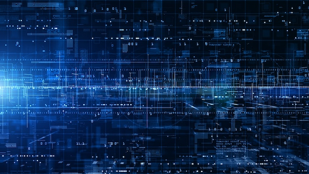 Digitale cyberspace met deeltjes en digitale datanetwerkverbindingen