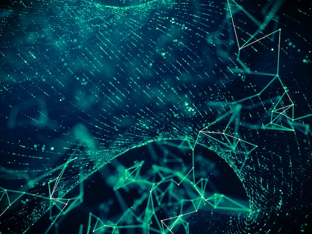 Digitale datatechnologie met deeltjes raster stroom netwerkverbinding achtergrond