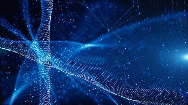 Digitale deeltjes golfstroom en draai abstract motion technologie achtergrond concept