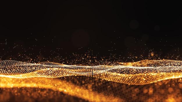 Digitale deeltjes gouden kleur golf stroom abstracte achtergrond