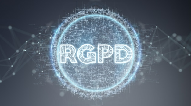 Digitale gdpr-interface 3d-rendering