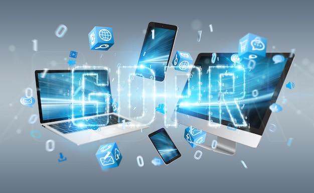 Digitale gdpr-interface over technologie-apparaten 3d-rendering