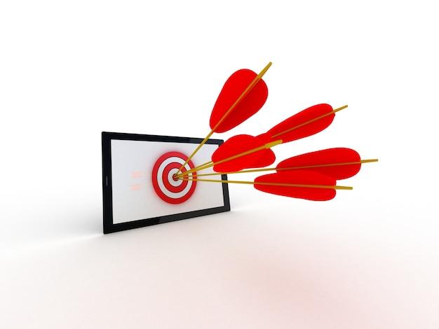 Digitale gegenereerde doelcomputer op wit