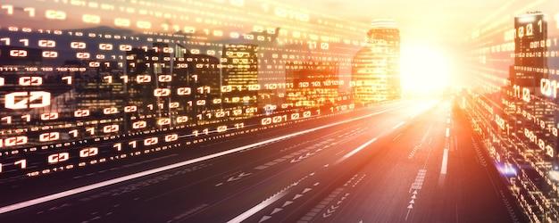 Digitale gegevensstroom op de weg met bewegingsonscherpte om een visie op snelle overdracht te creëren