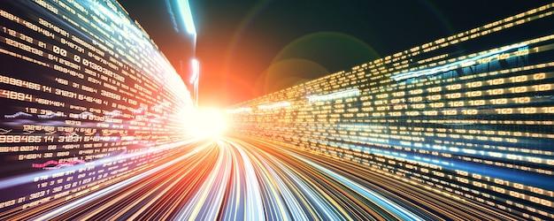 Digitale gegevensstroom op de weg met bewegingsonscherpte om een visie te creëren op snelle overdrachtssnelheid