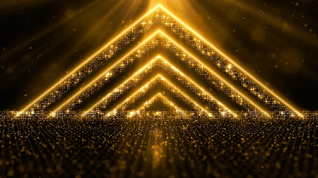 Digitale goudkleurige deeltjes stromen met stof en bokeh