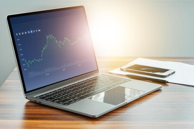 Digitale grafiekhandel online op computer, handelsbeurs