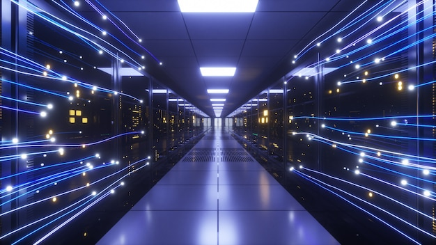 Digitale informatie stroomt door het netwerk en de dataservers