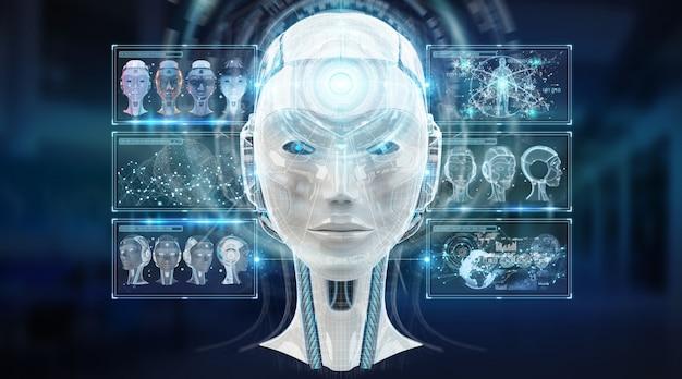 Digitale kunstmatige intelligentie cyborg interface 3d-rendering