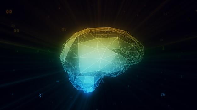 Digitale kunstmatige intelligentie hersenen in wolk van binaire gegevens