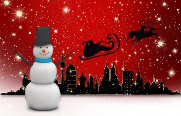Digitale nicholas uitzicht rendieren stad sneeuw man