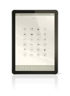 Digitale tablet pc met apps pictogrammen interface