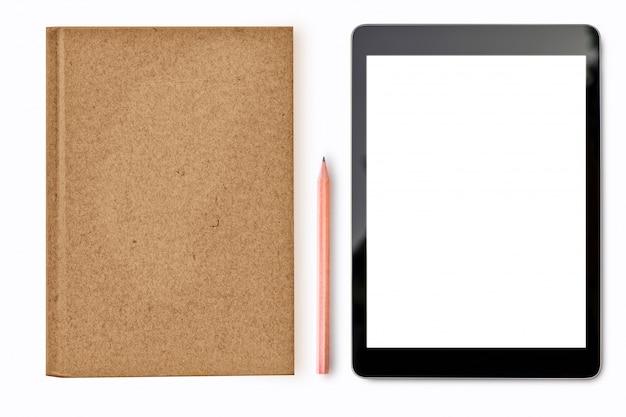 Digitale tabletspot omhoog op witte achtergrond