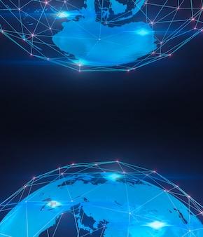 Digitale technische achtergrond, wereldwijde verbinding