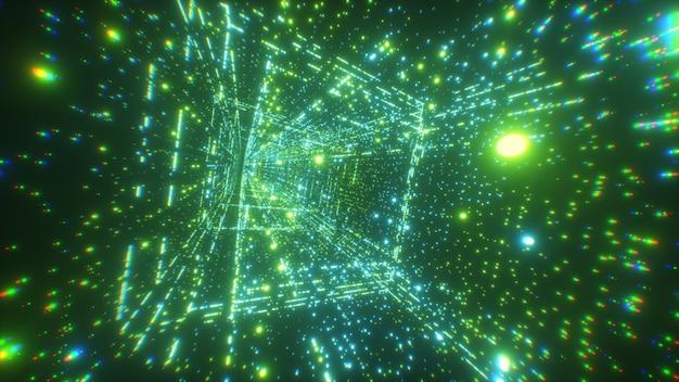 Digitale technologietunnel. big data digitale vierkante gang met futuristische matrix Premium Foto
