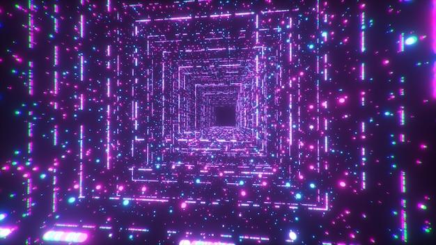 Digitale technologietunnel. big data digitale vierkante gang met futuristische matrix