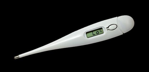 Digitale thermometer geïsoleerd op een zwarte achtergrond