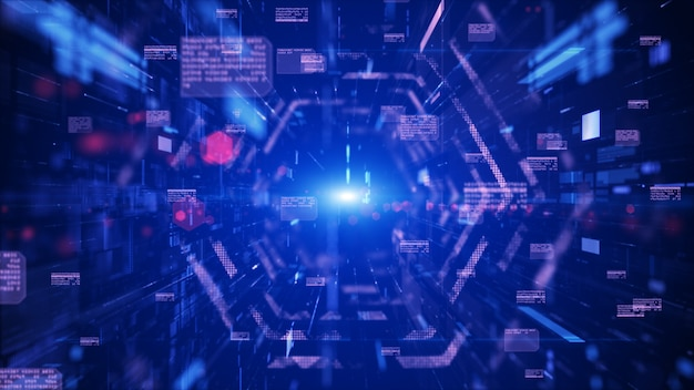 Digitale tunnel cyberspace en digitale datanetwerk verbindingen concept. overdracht digitale gegevens high-speed internet, toekomstige technologie digitaal