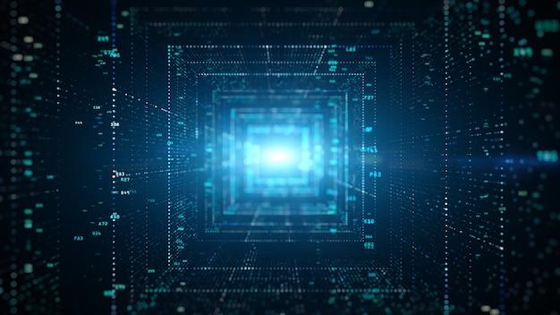 Digitale tunnel van cyberspace met deeltjes en digitale data