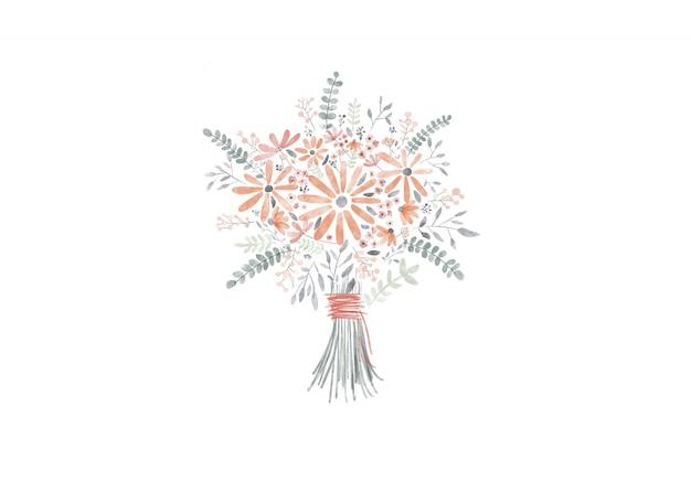 Digitale verf van bloemenboeket