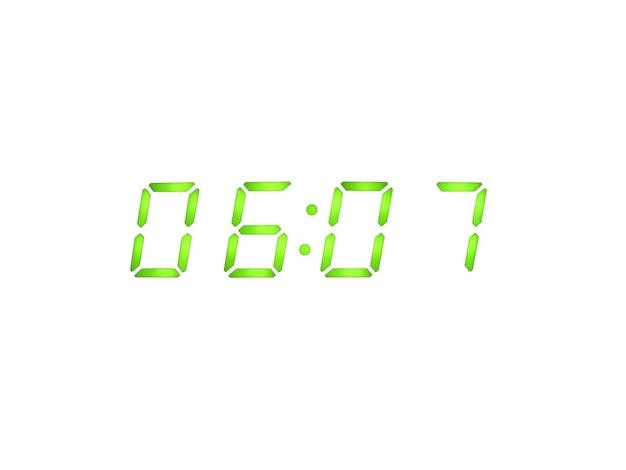 Digitale wekker met groene cijfers