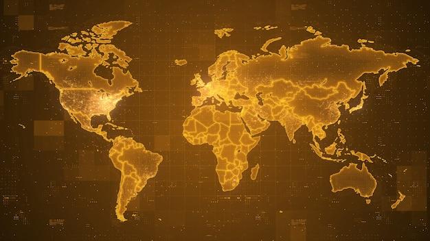 Digitale wereld in wereldkaarttechnologie met elektronische systemen