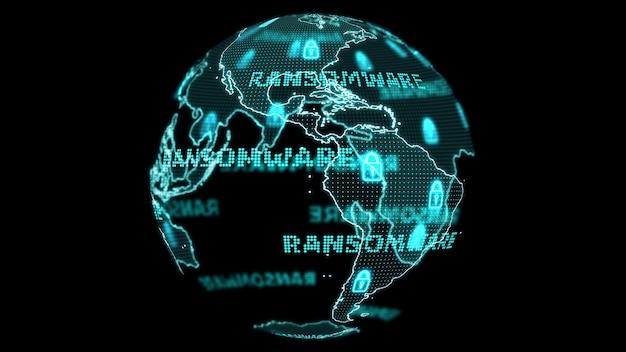 Digitale wereldkaart en technologieonderzoek ontwikkelen analyses om digitale lichte tekst aan te vallen door ransomware