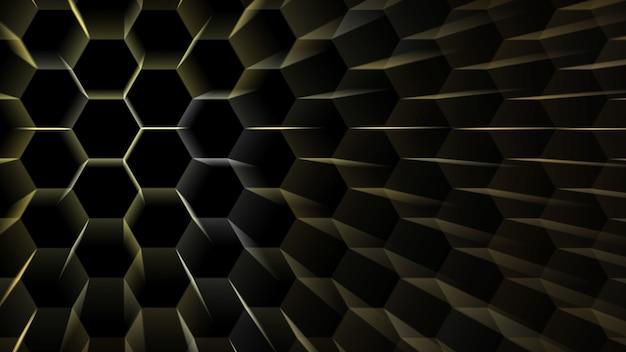 Digitale zeshoek dimensie bewegende draad bescherming licht burst en centrum verplaatsen om te veranderen positie vervagen ray toon abstracte zeshoek futuristische textuur achtergrondpatroon op zwart geïsoleerd