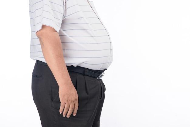 Dikke man buik. close-up shot van vet, zwaarlijvig, overgewicht vader bod maag. zuidoost-aziatisch mannenmodel