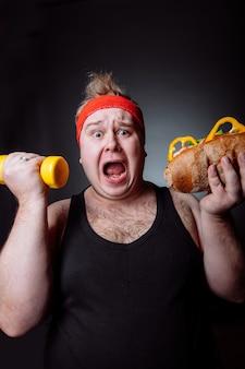 Dikke man, strijd tegen obesitas concept