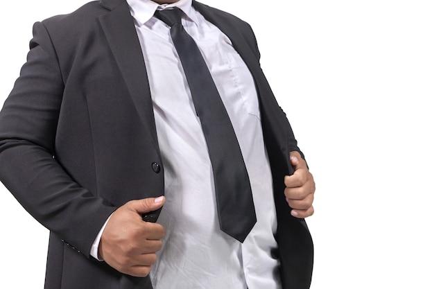 Dikke zakenman in een pak op witte achtergrond